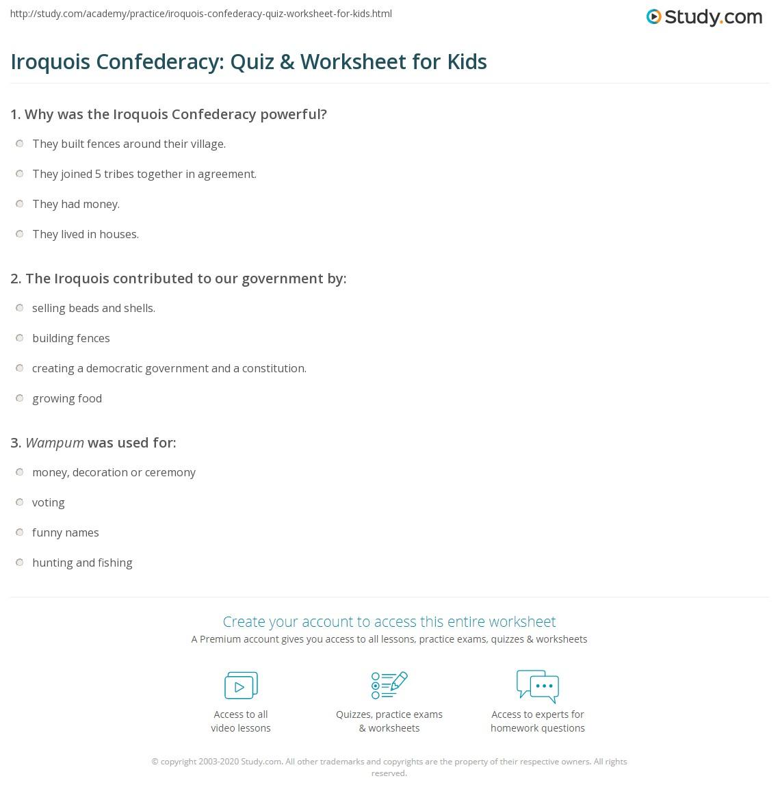 Iroquois Confederacy: Quiz & Worksheet for Kids | Study com