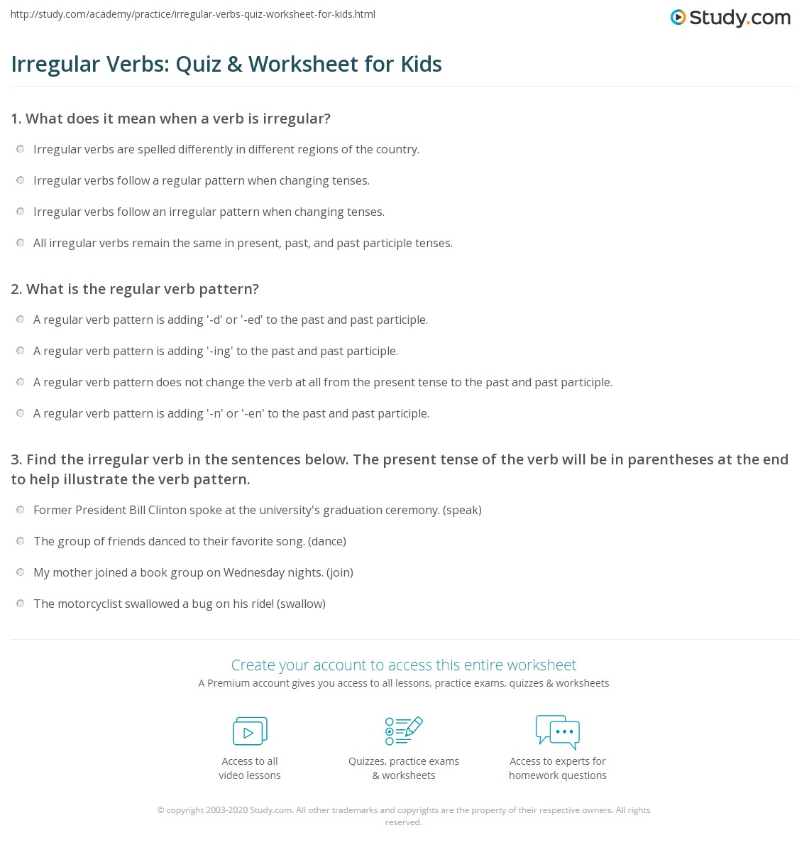 worksheet Irregular Verbs Worksheets irregular verbs quiz worksheet for kids study com print lesson worksheet