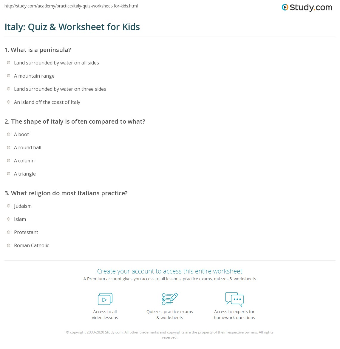 Italy: Quiz & Worksheet for Kids | Study com