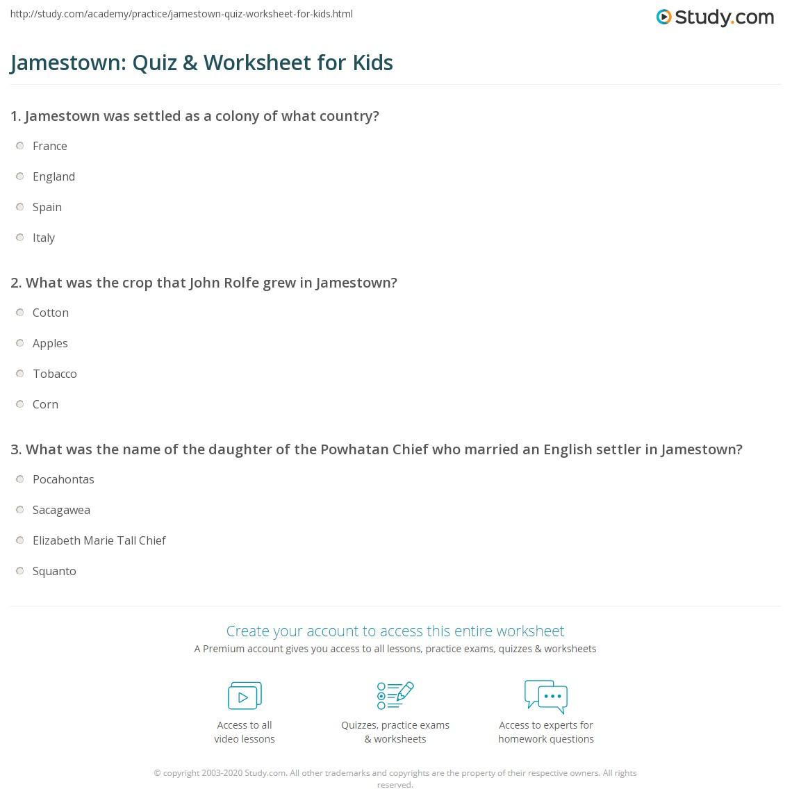 Jamestown: Quiz & Worksheet for Kids | Study.com