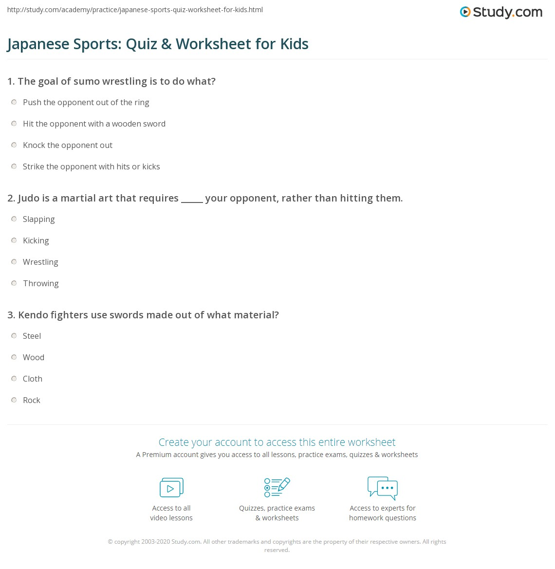 Japanese Sports: Quiz & Worksheet for Kids | Study.com