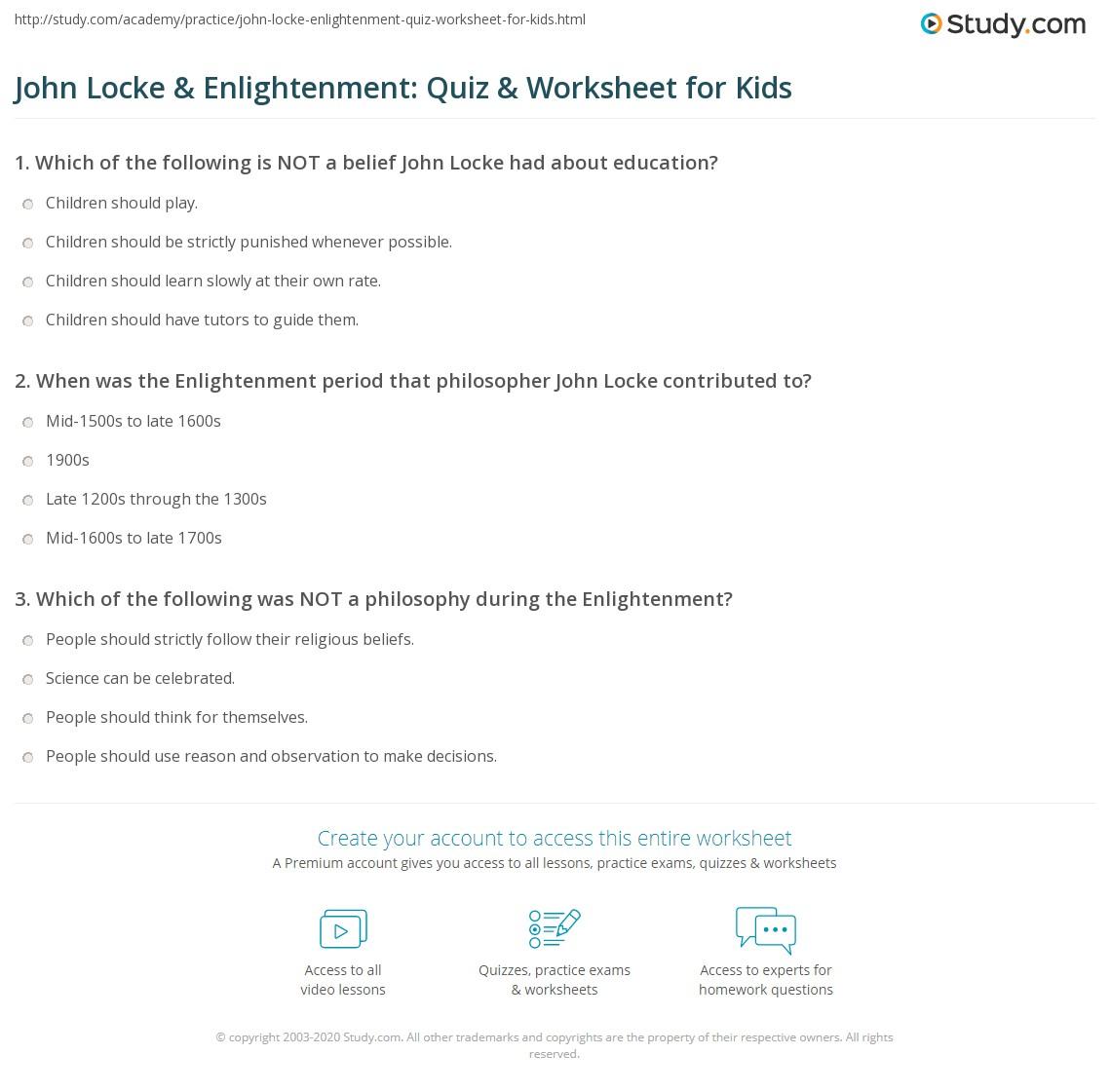 John Locke Enlightenment Quiz Worksheet For Kids Study Com