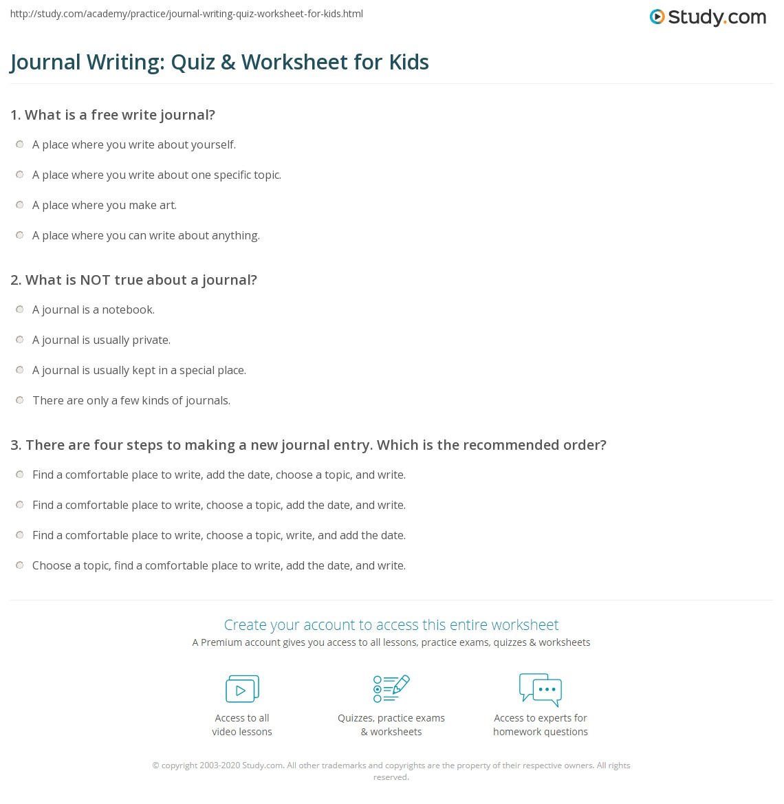 journal writing quiz worksheet for kids study com