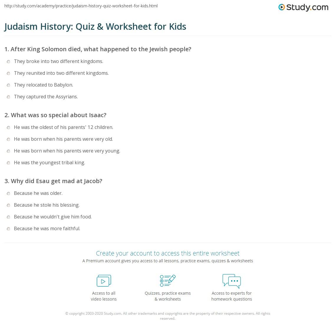judaism history quiz worksheet for kids. Black Bedroom Furniture Sets. Home Design Ideas