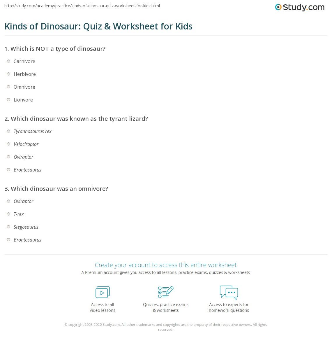 kinds of dinosaur quiz u0026 worksheet for kids study com