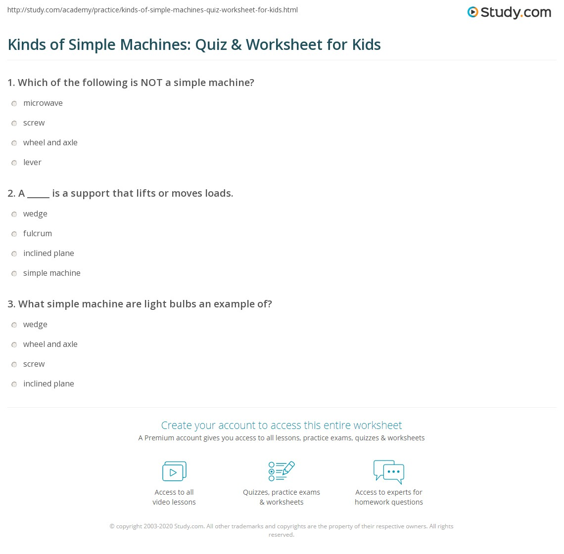 Kinds of Simple Machines Quiz Worksheet for Kids – Simple Machine Worksheets