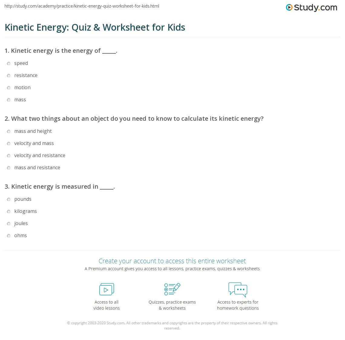 worksheet Kinetic Energy Worksheet kinetic energy quiz worksheet for kids study com print lesson definition examples worksheet