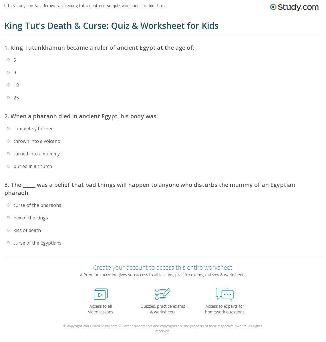 King Tut's Death & Curse: Quiz & Worksheet for Kids | Study.com
