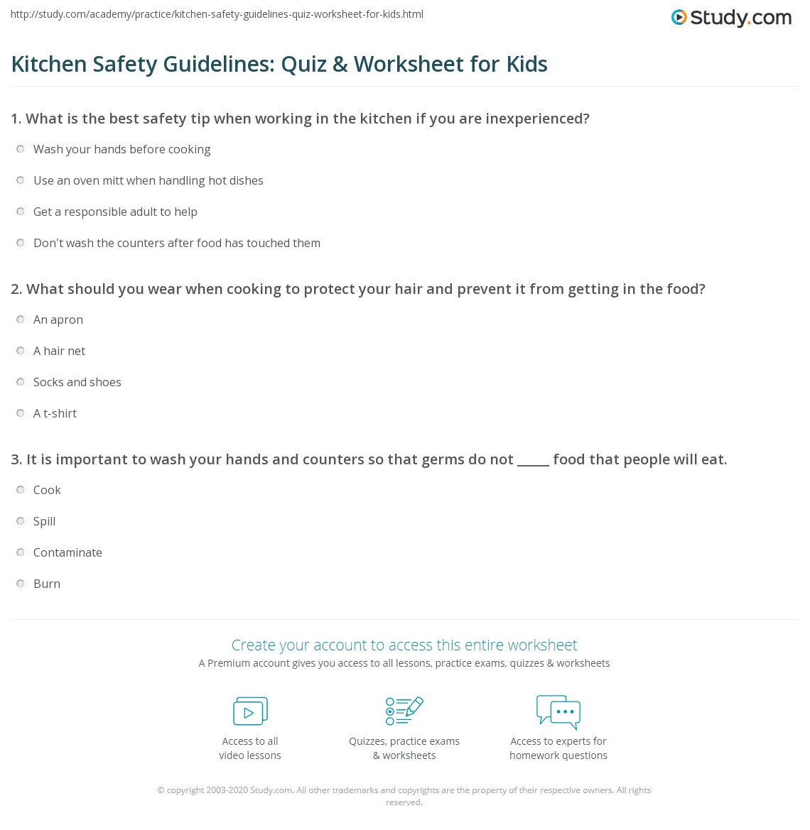 Kitchen Safety Guidelines Quiz Worksheet For Kids