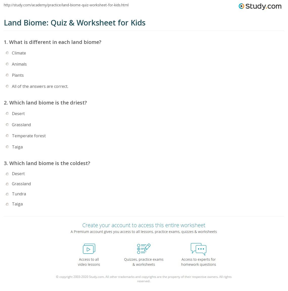 worksheet Land Biomes Worksheet land biome quiz worksheet for kids study com print biomes lesson worksheet