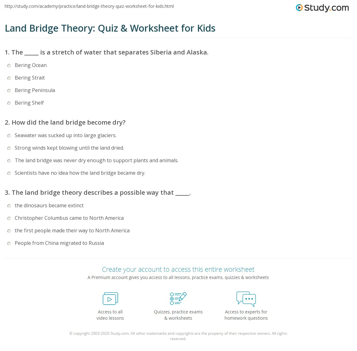Land Bridge Theory Quiz Worksheet for Kids – Theory Worksheets