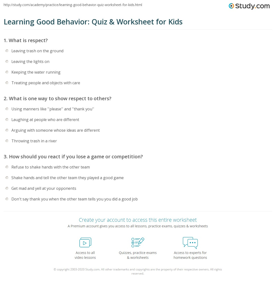Print Respectful Behavior Lesson For Kids Worksheet
