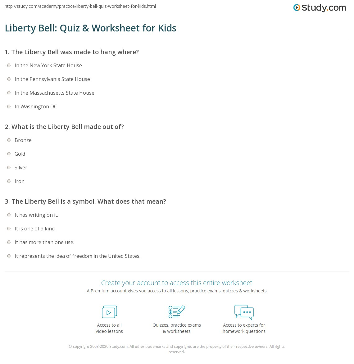 worksheet Liberty Kids Worksheets liberty bell quiz worksheet for kids study com print facts lesson worksheet