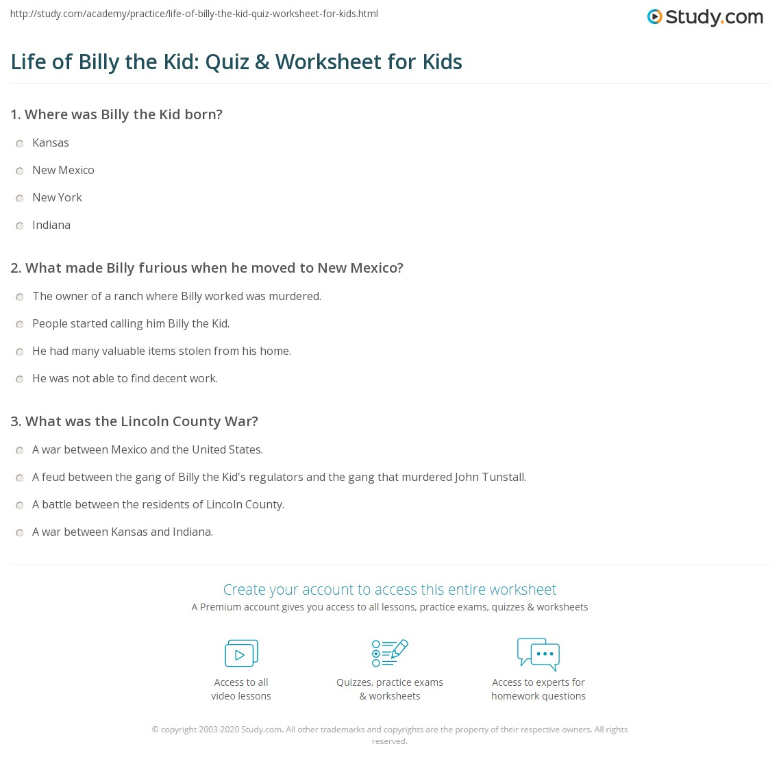 Life of Billy the Kid: Quiz & Worksheet for Kids | Study com