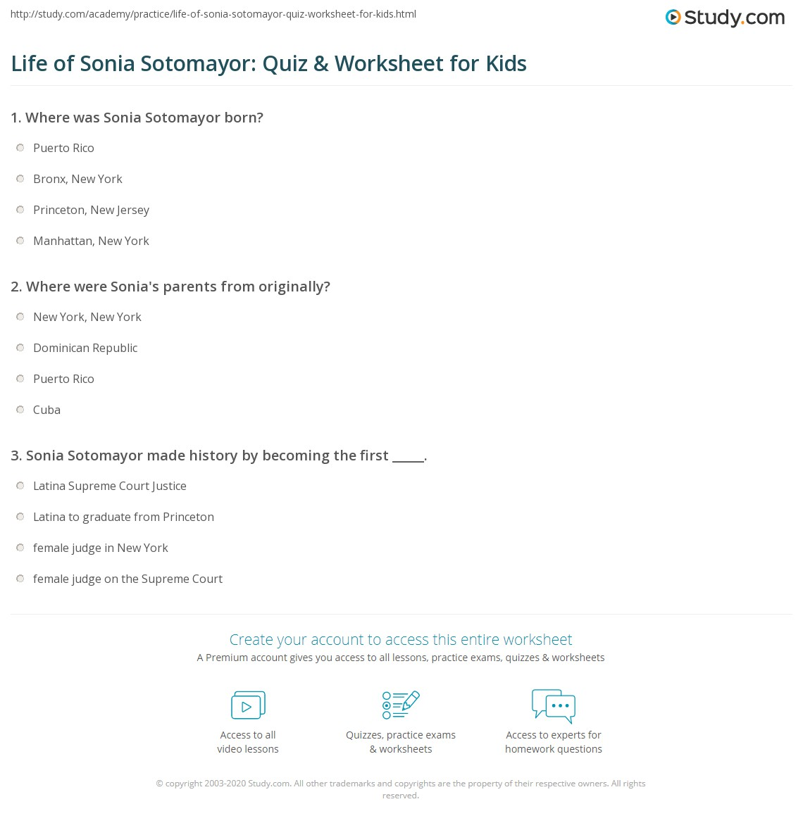 Life of Sonia Sotomayor Quiz Worksheet for Kids – Biography Worksheets