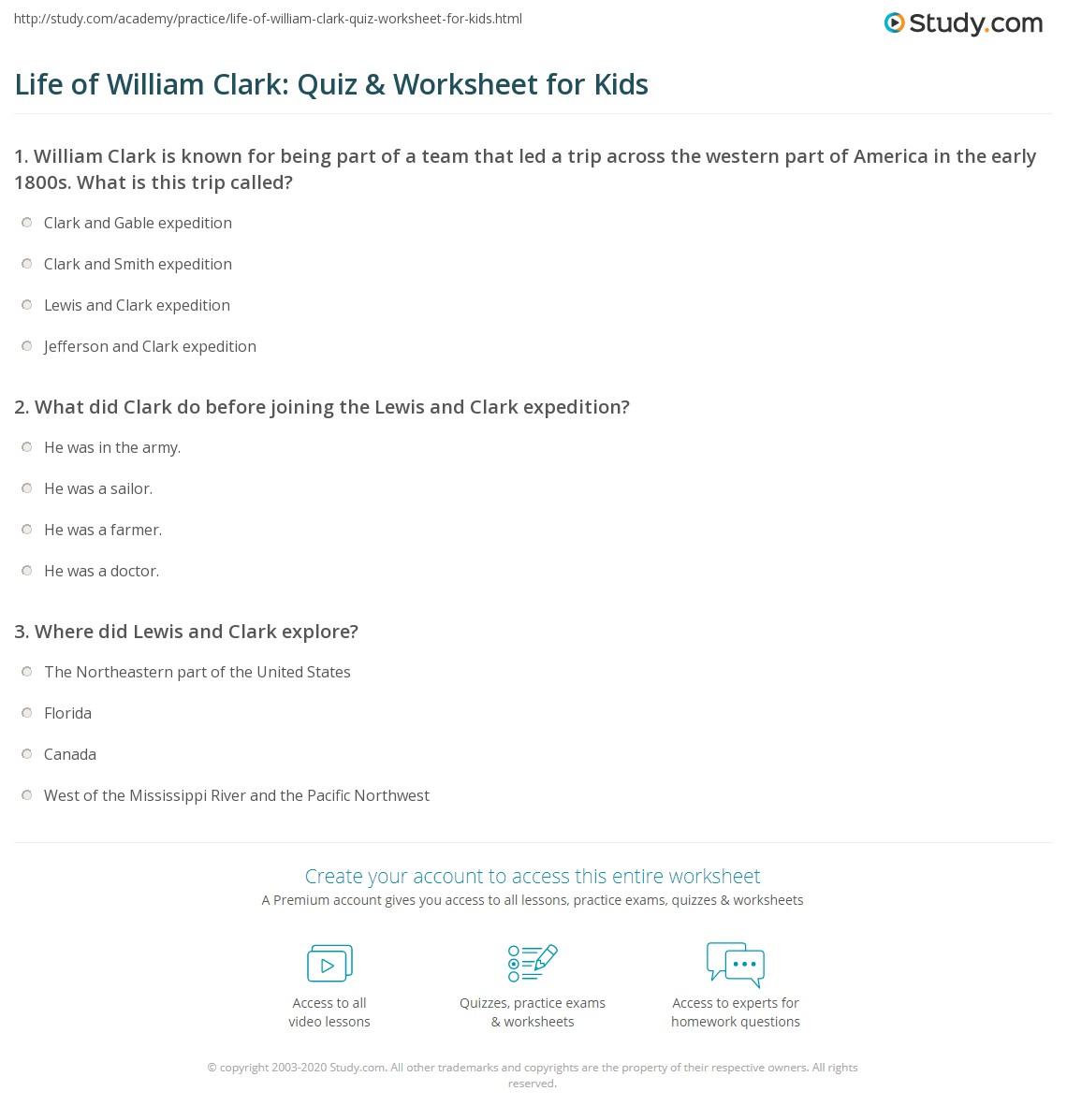 Life Of William Clark Quiz Worksheet For Kids Study