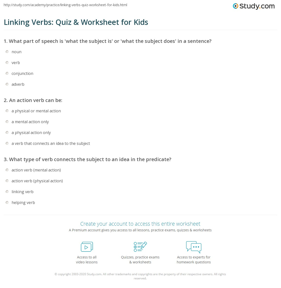 Print Linking Verbs: Lesson for Kids Worksheet