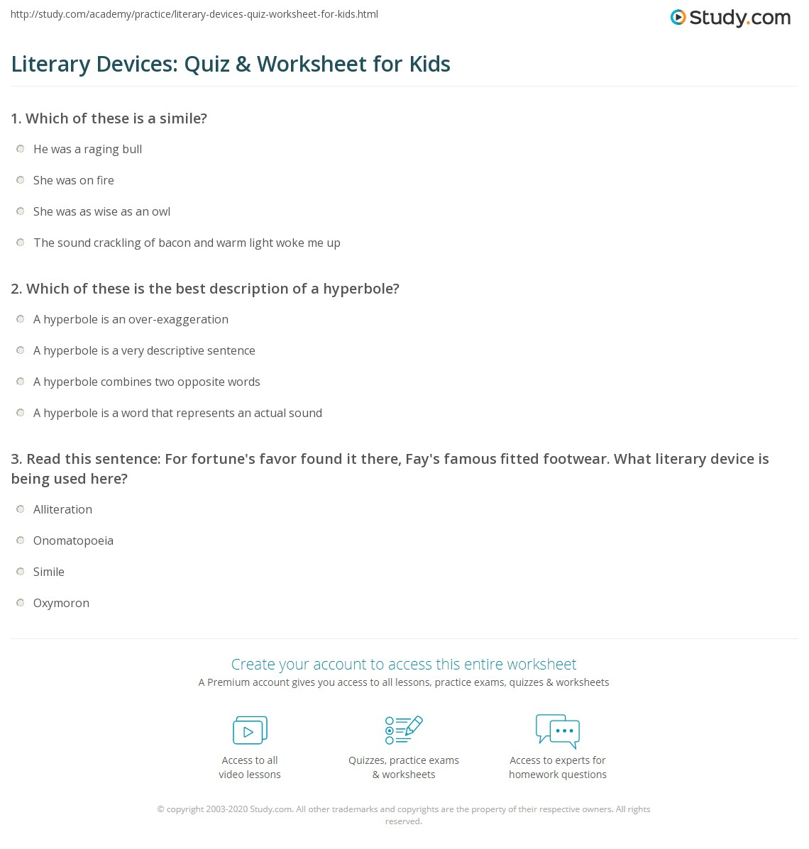Literary Devices Quiz Worksheet For Kids Study
