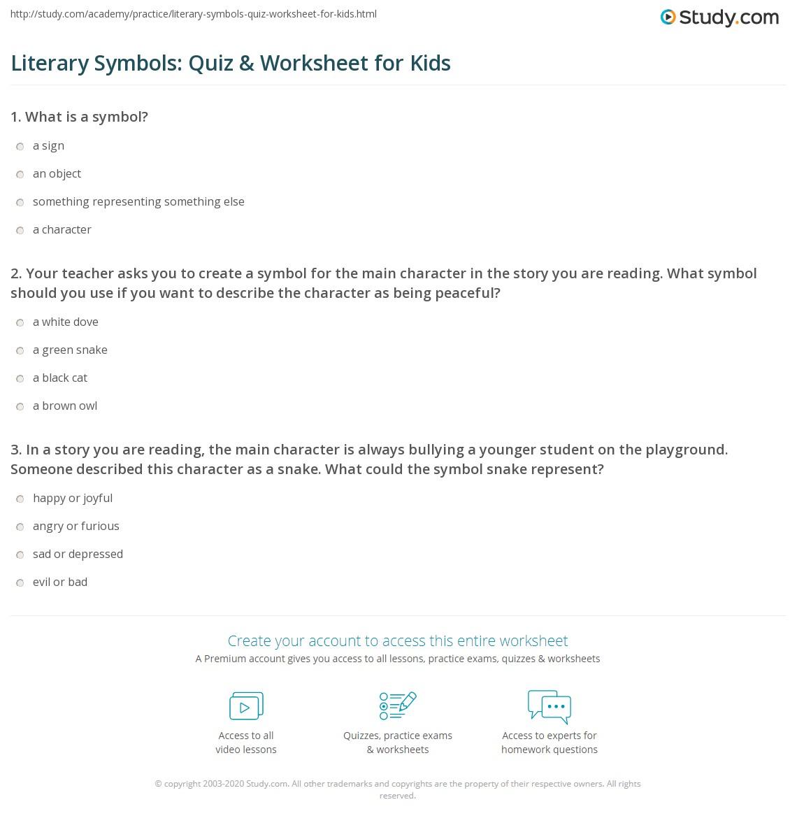 Literary Symbols Quiz Worksheet For Kids Study