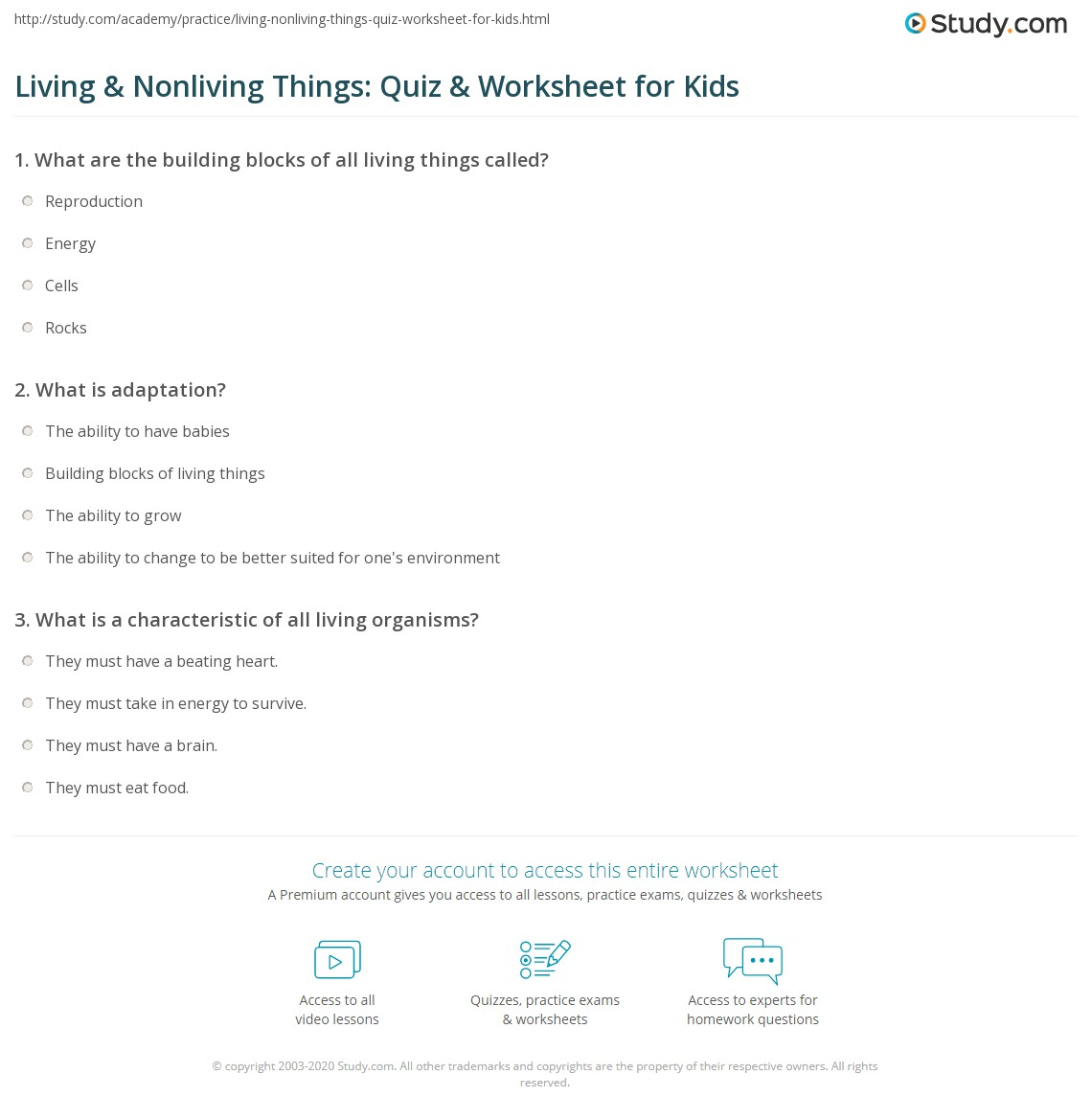 Science Worksheets For Grade 1 Living And Nonliving Things Pdf ...