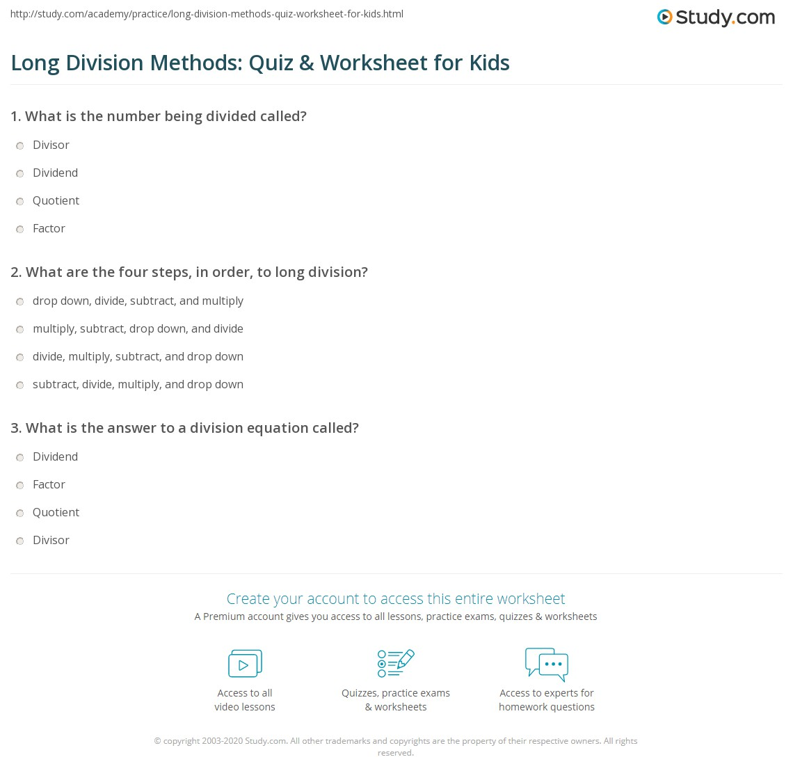 Long Division Methods Quiz & Worksheet for Kids