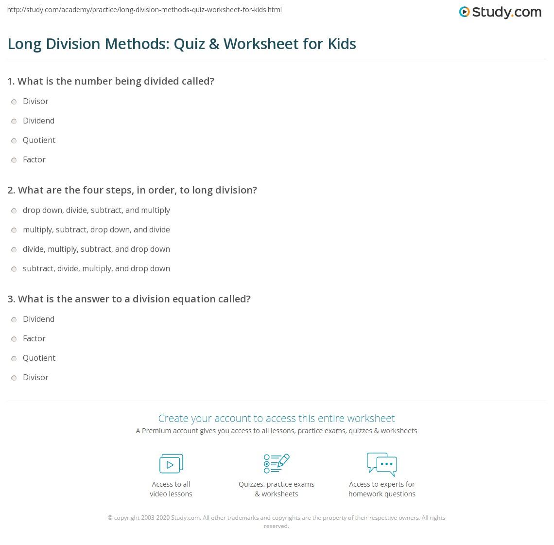 worksheet Long Division Practice Worksheet long division methods quiz worksheet for kids study com print steps lesson worksheet