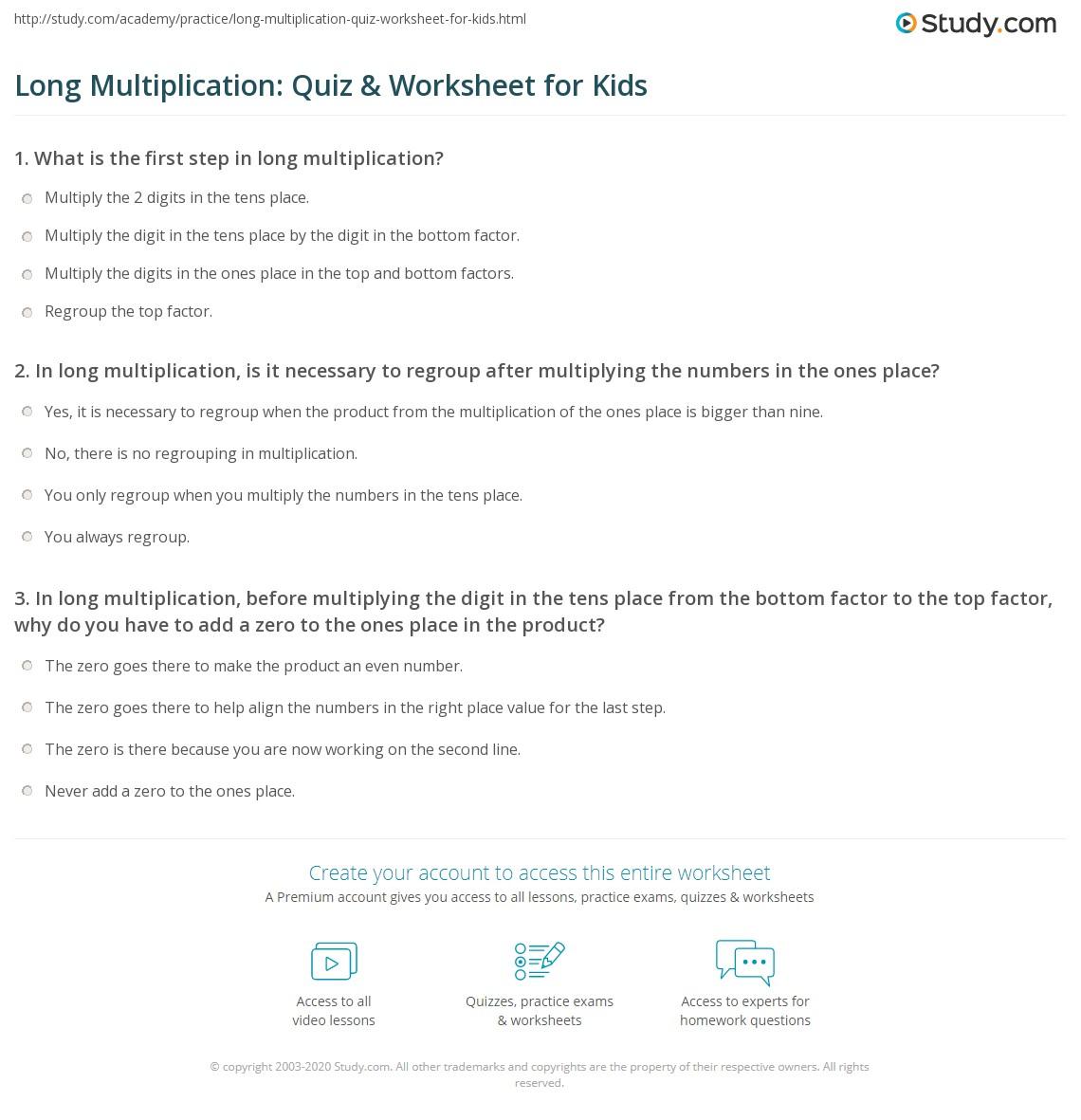 Long Multiplication: Quiz & Worksheet for Kids | Study.com