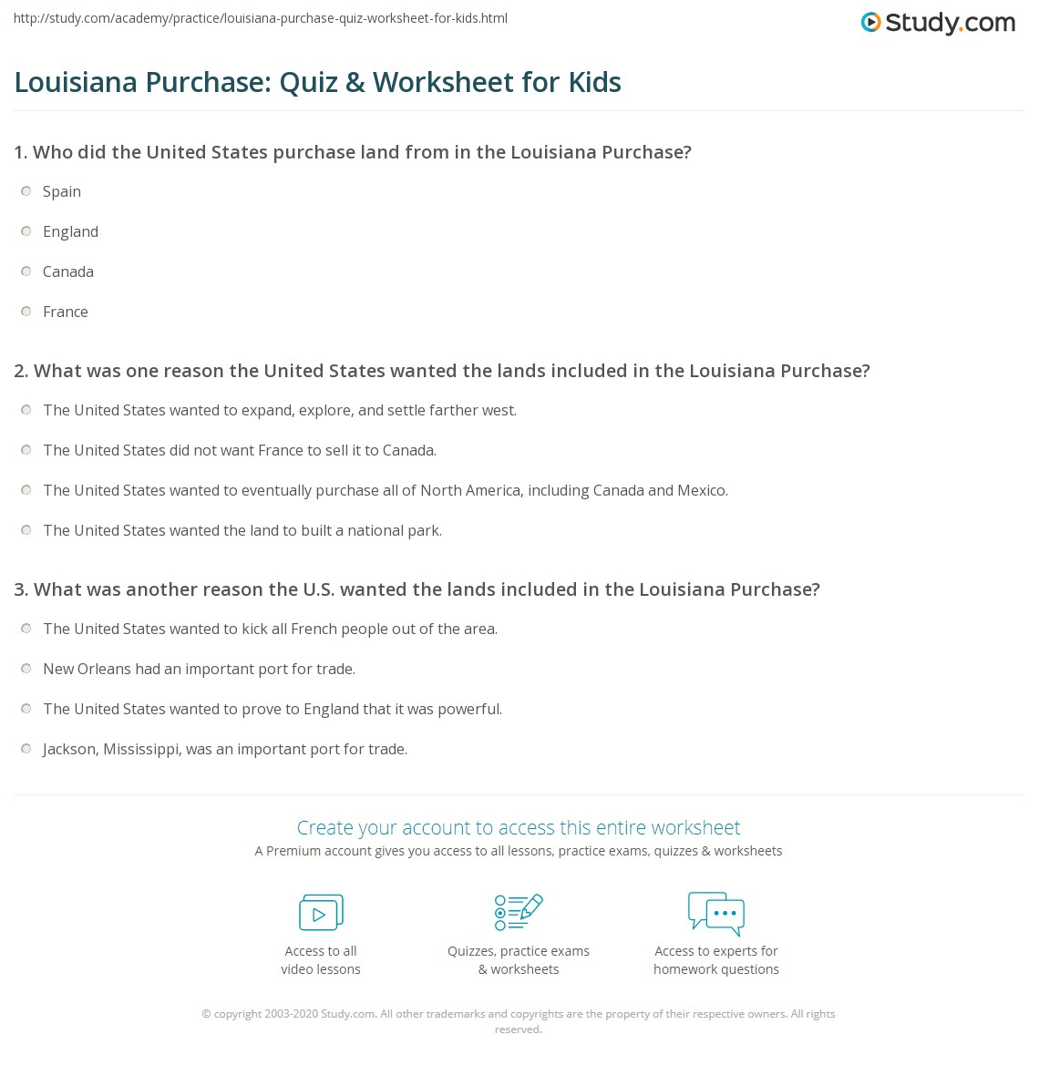 louisiana purchase quiz worksheet for kids. Black Bedroom Furniture Sets. Home Design Ideas