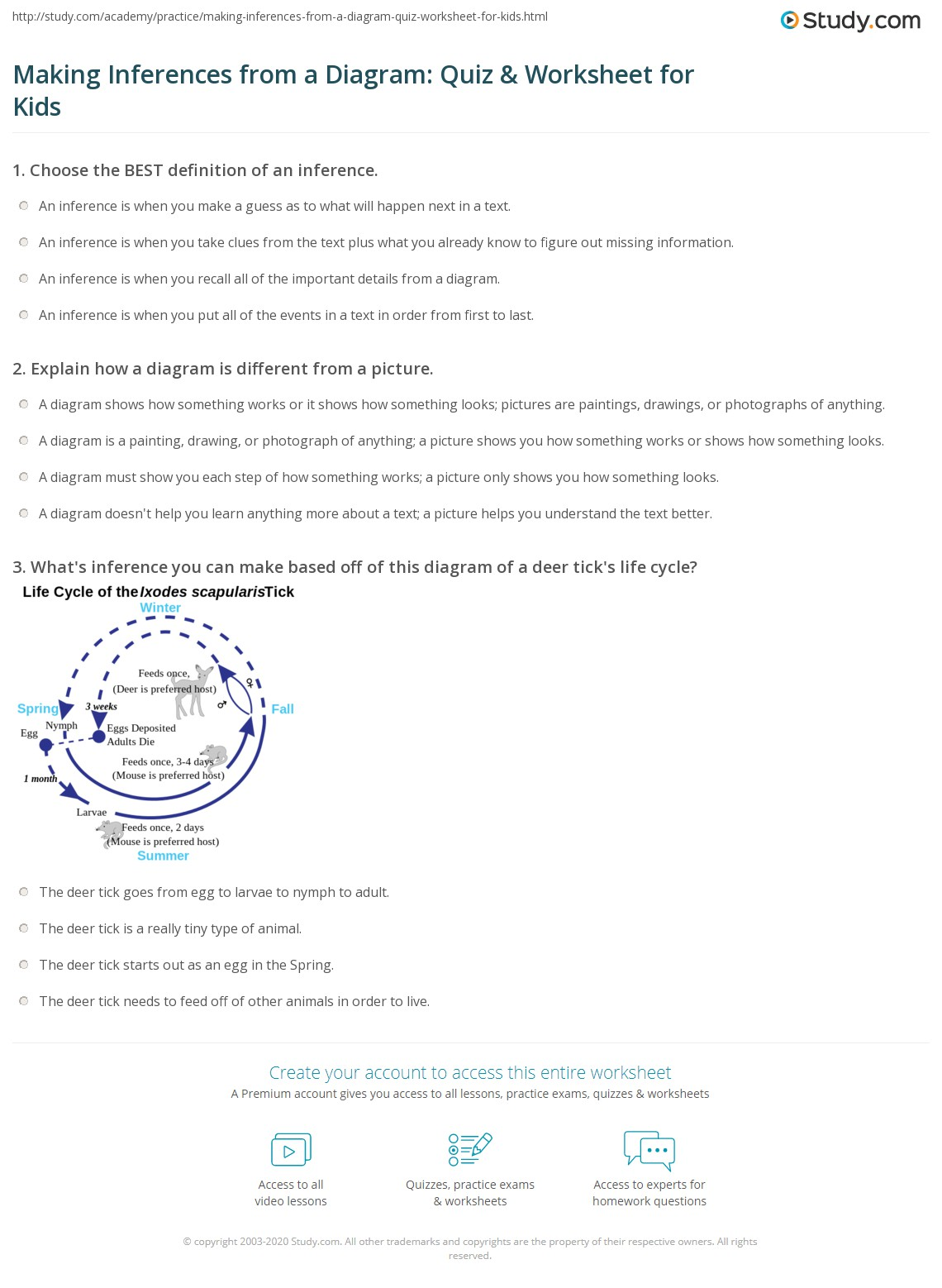Making    Inferences from a    Diagram     Quiz   Worksheet for