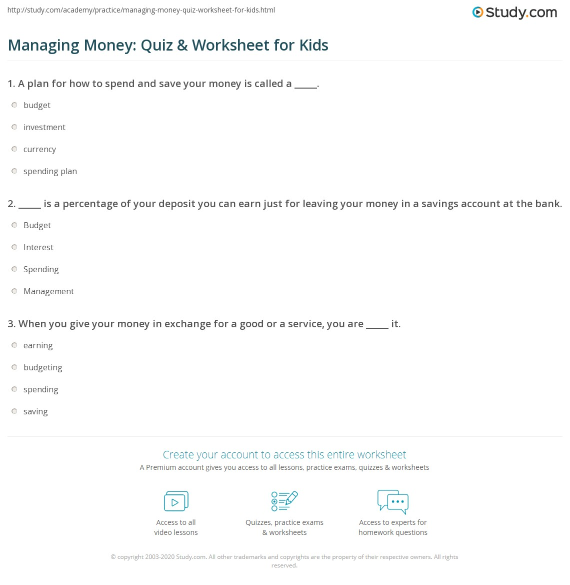 Worksheets Money Management Worksheets managing money quiz worksheet for kids study com print management lesson worksheet