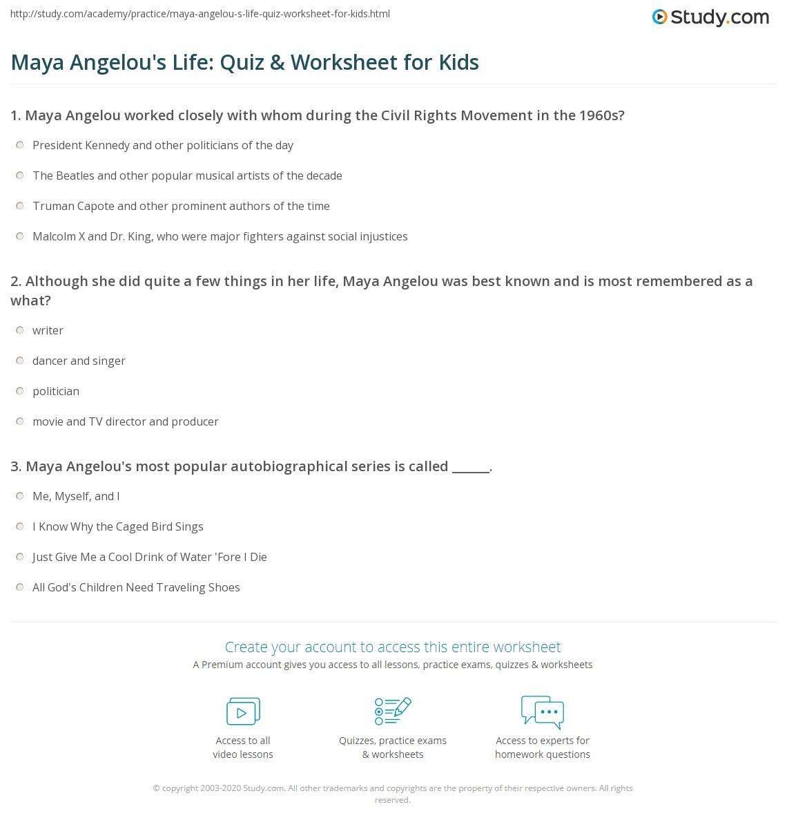 maya angelou 39 s life quiz worksheet for kids. Black Bedroom Furniture Sets. Home Design Ideas