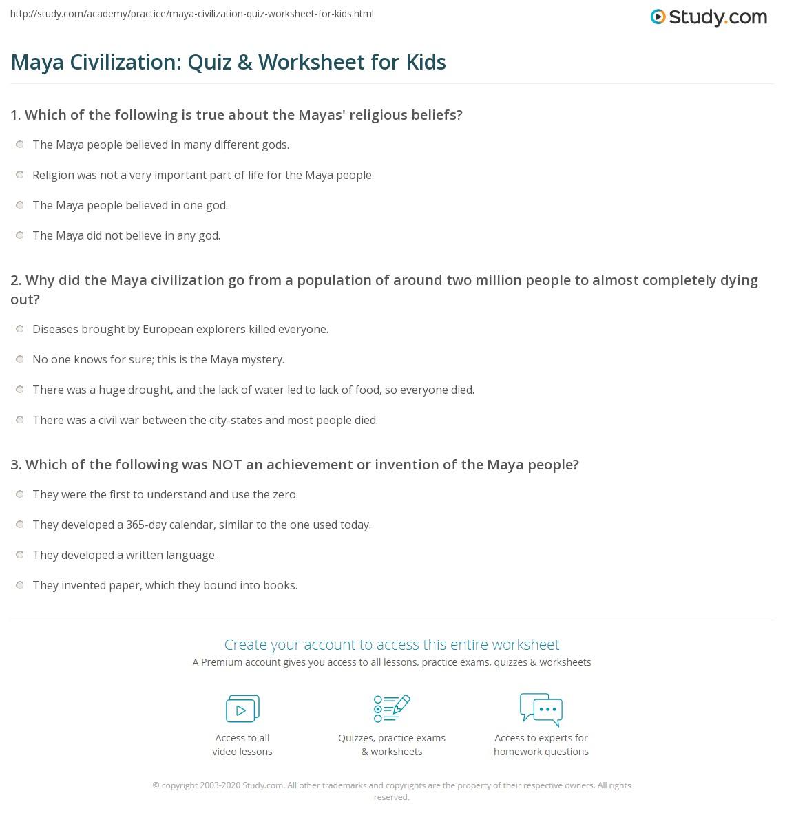worksheet Mayan Worksheets For Kids maya civilization quiz worksheet for kids study com print facts lesson worksheet