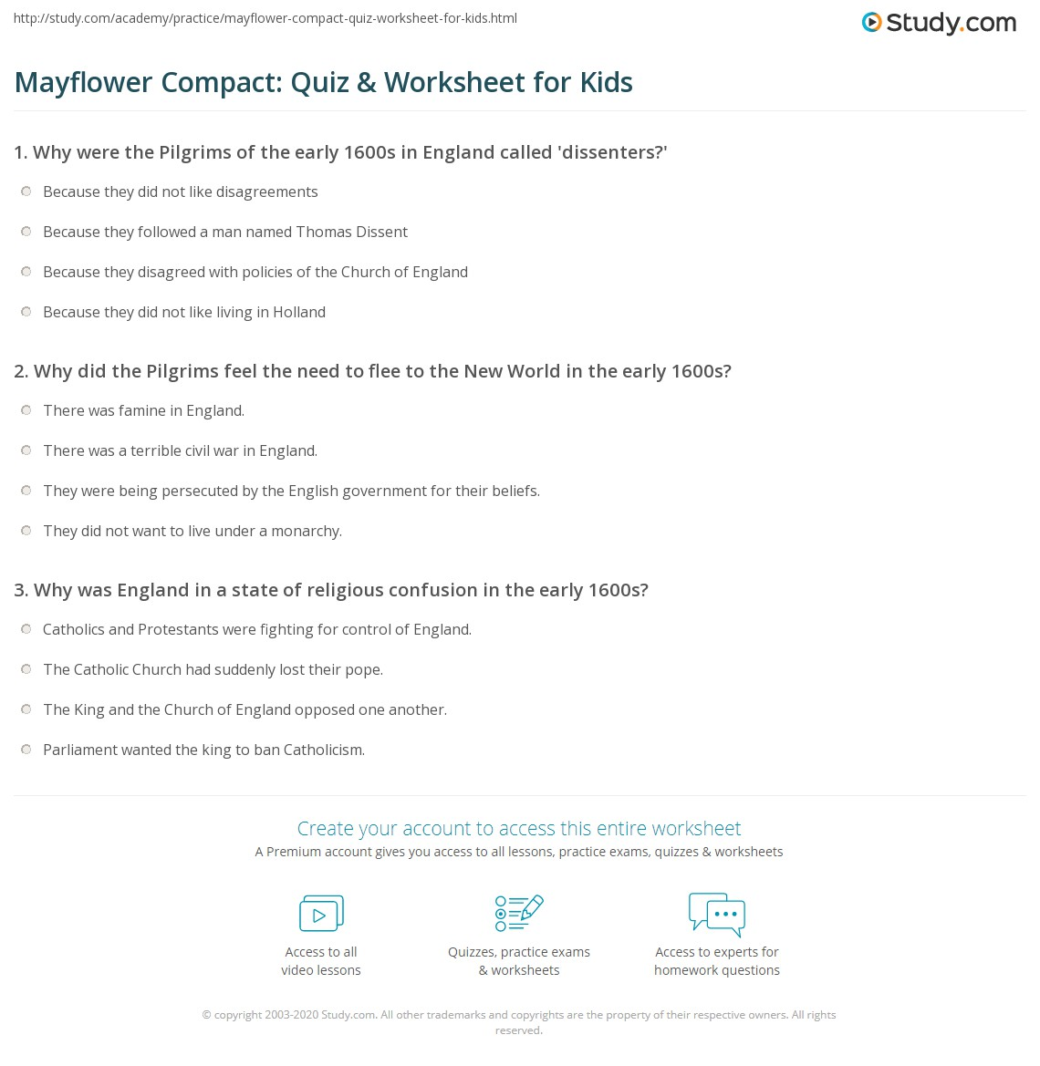 mayflower compact quiz worksheet for kids. Black Bedroom Furniture Sets. Home Design Ideas