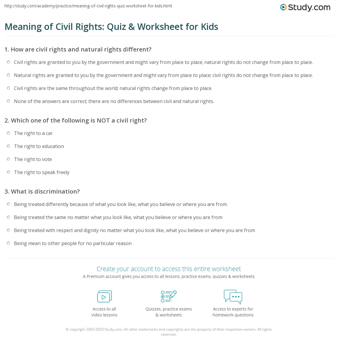 meaning of civil rights: quiz & worksheet for kids | study