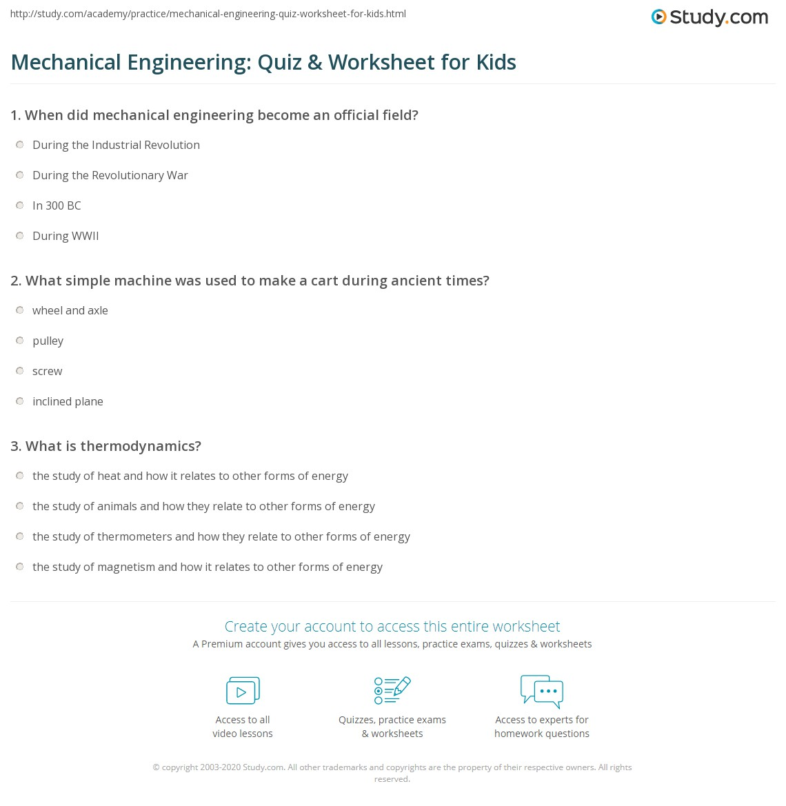 Worksheets Engineering Worksheets mechanical engineering quiz worksheet for kids study com print lesson worksheet