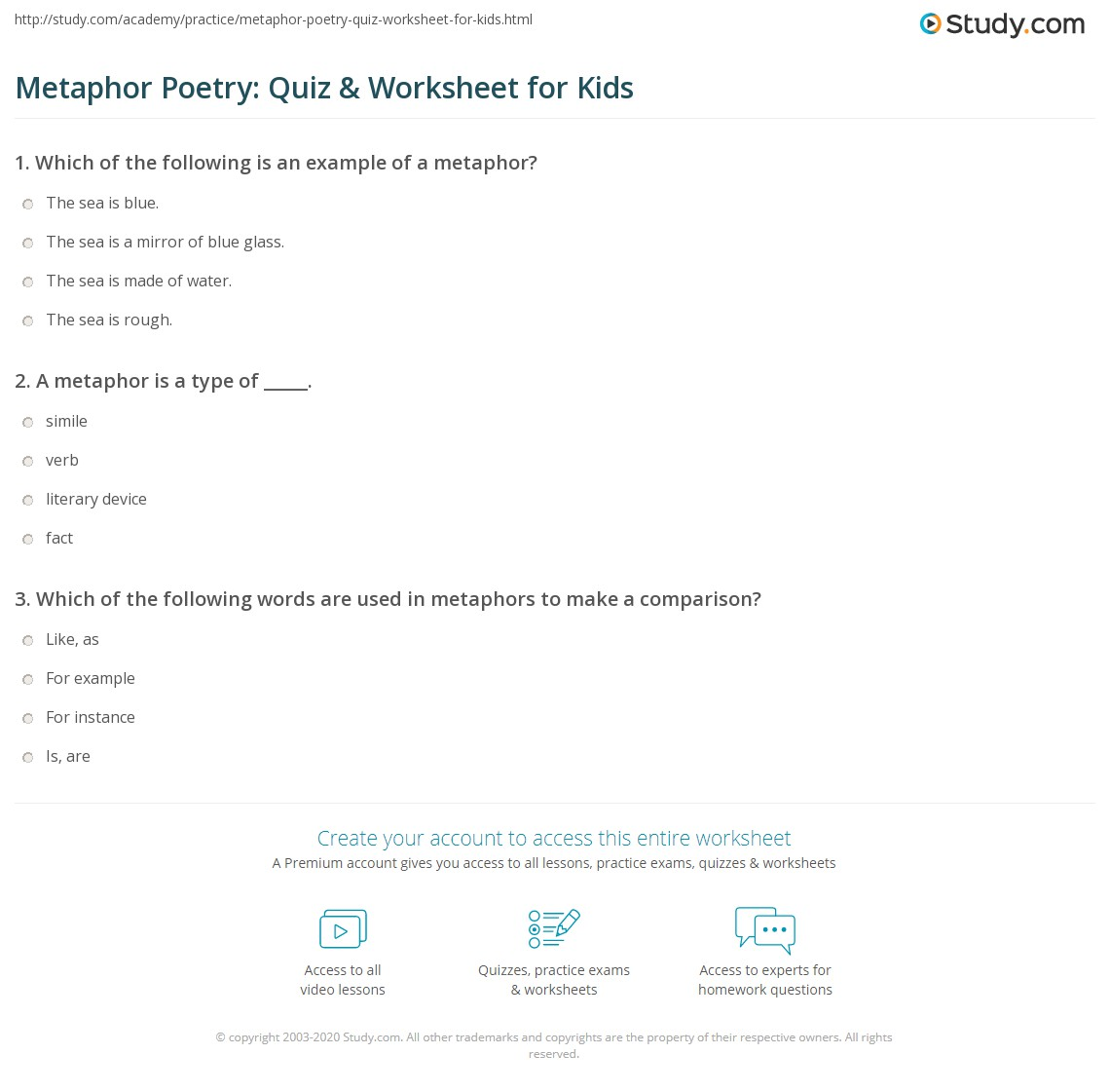 Metaphor Poetry Quiz Worksheet For Kids Study
