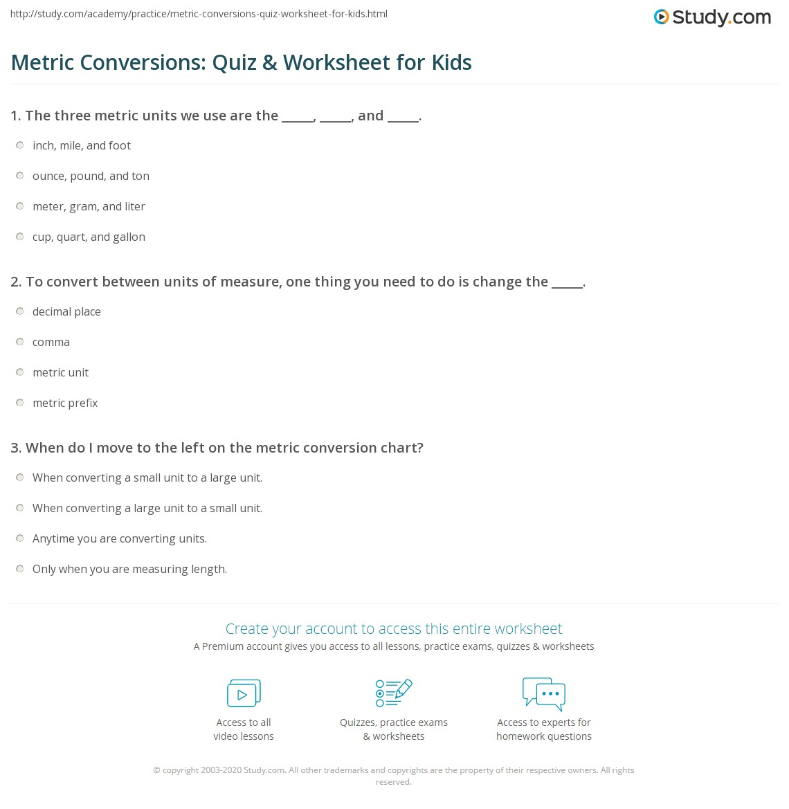 metric conversions: quiz & worksheet for kids | study
