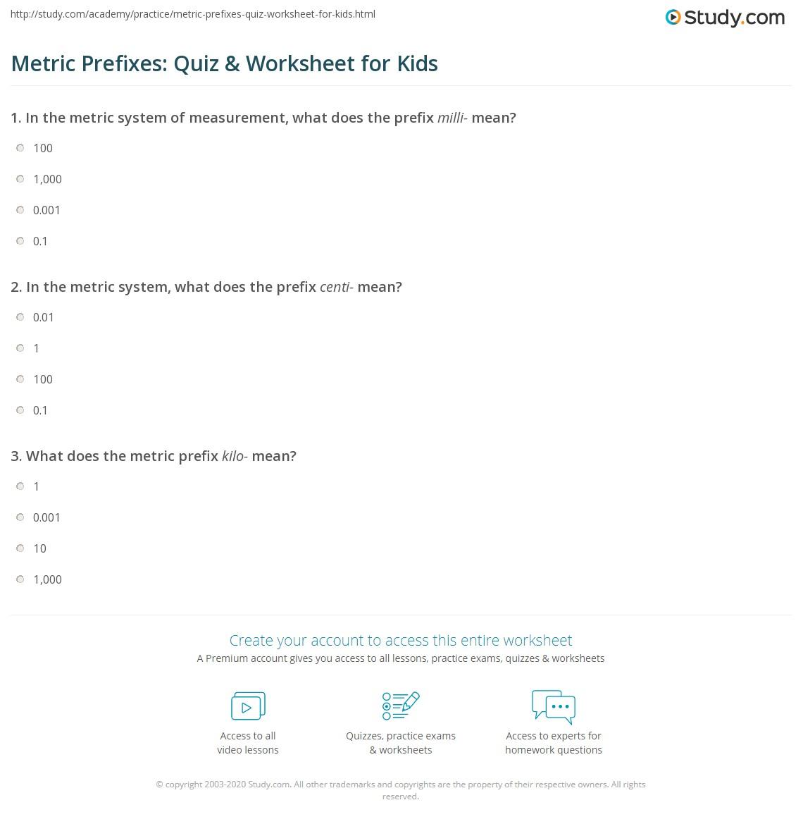 Metric prefixes quiz worksheet for kids study print metric prefixes lesson for kids worksheet robcynllc Images