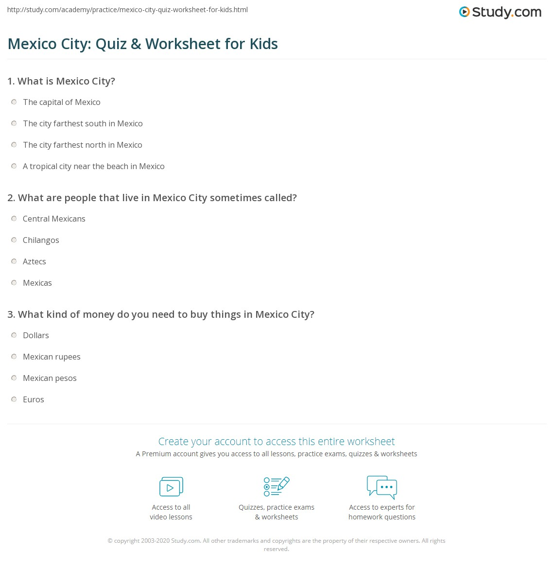 Print Mexico City Facts Lesson For Kids Worksheet