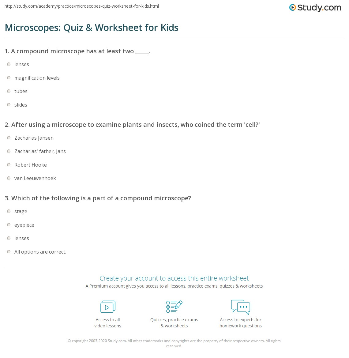 Microscopes: Quiz & Worksheet for Kids | Study.com