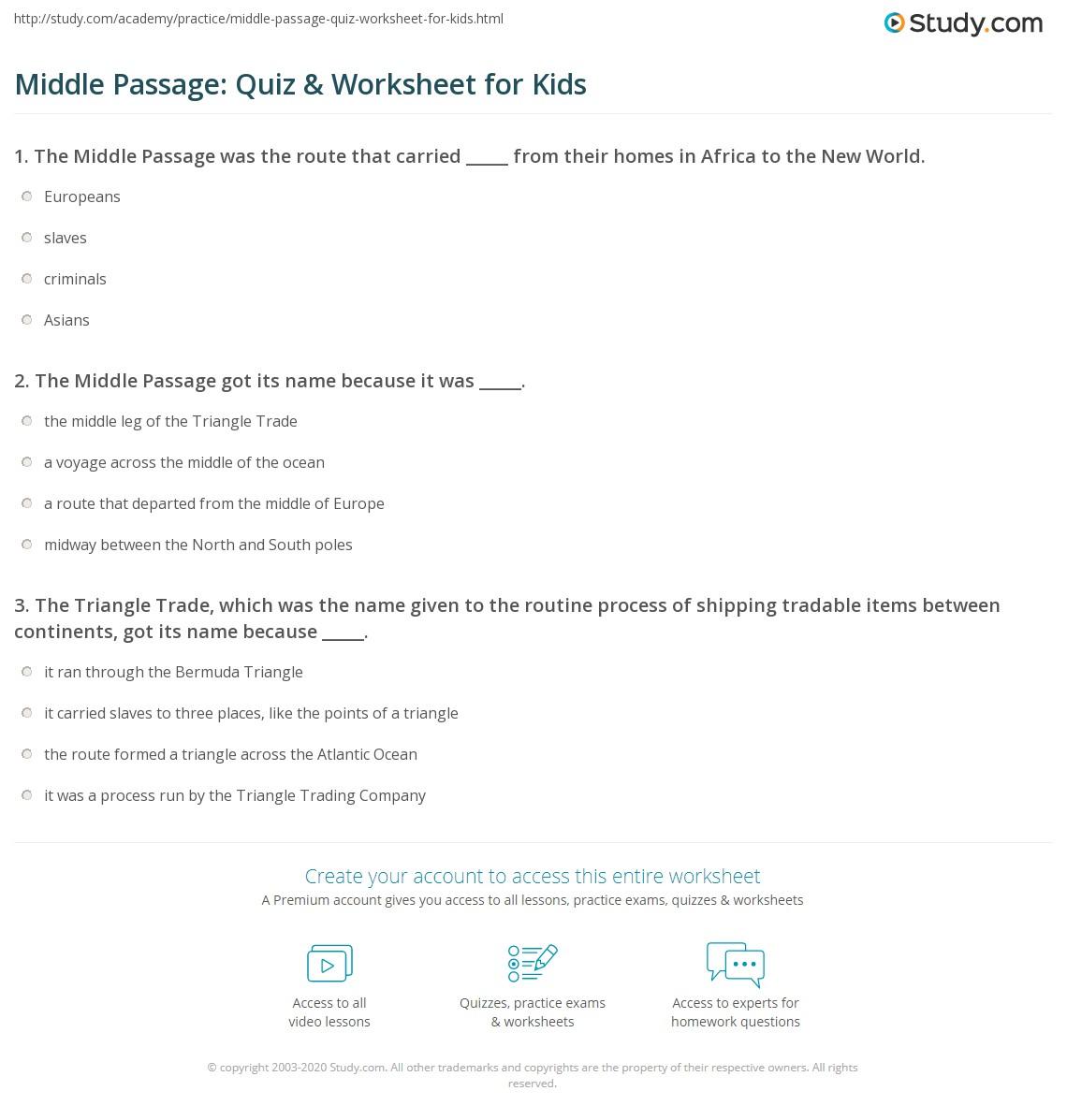 Middle Passage: Quiz & Worksheet for Kids   Study.com