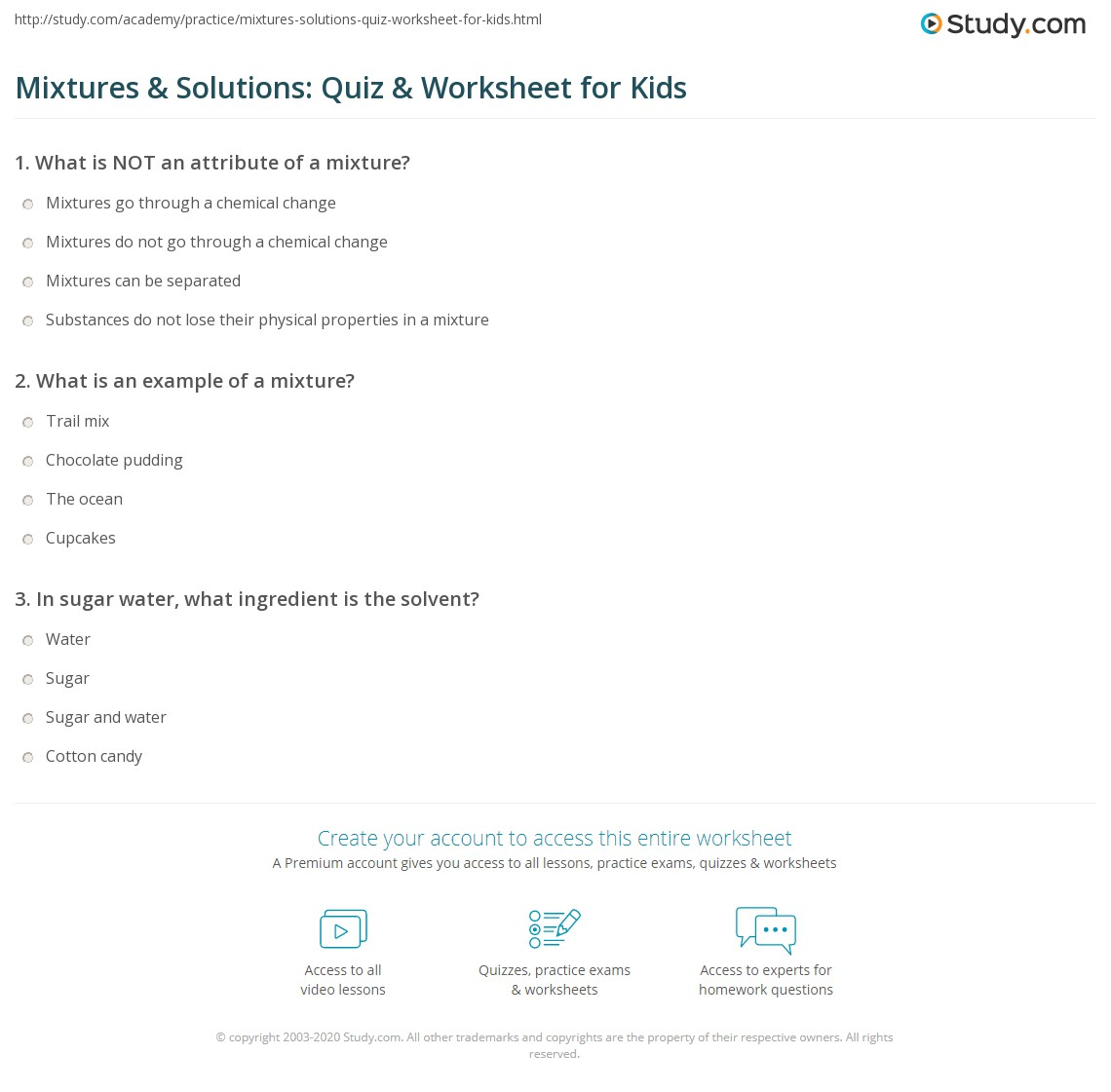 Worksheets Mixtures And Solutions Worksheets mixtures solutions quiz worksheet for kids study com print lesson definitions examples worksheet