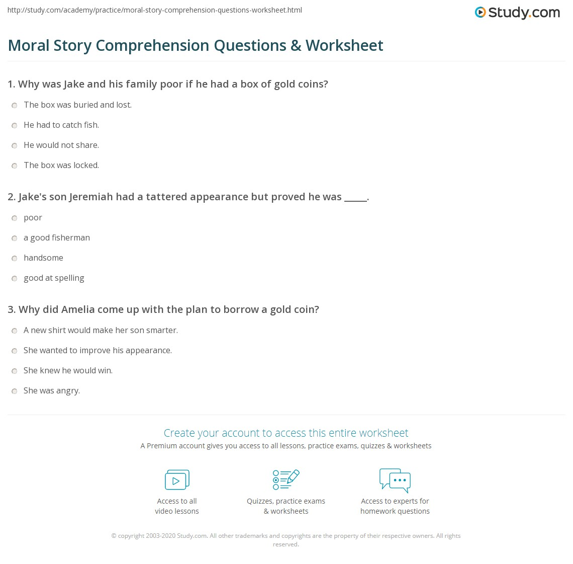 Moral Story Comprehension Questions & Worksheet | Study com