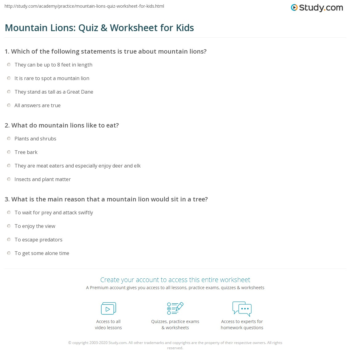 Mountain Lions Quiz Worksheet for Kids – Math Mountain Worksheets