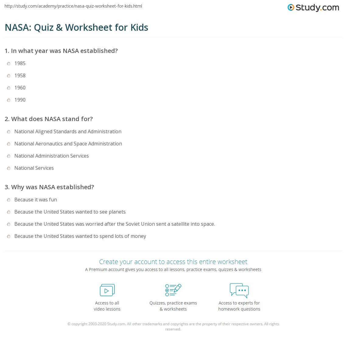 NASA: Quiz & Worksheet for Kids | Study.com