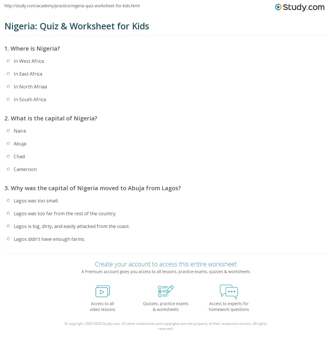 Print Nigeria Facts Lesson For Kids Worksheet
