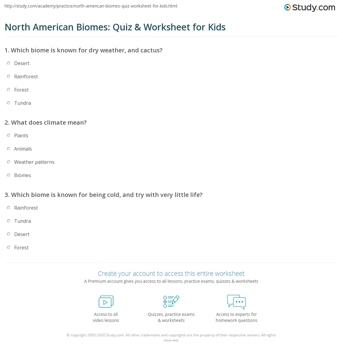 North American Biomes Quiz Worksheet For Kids Study