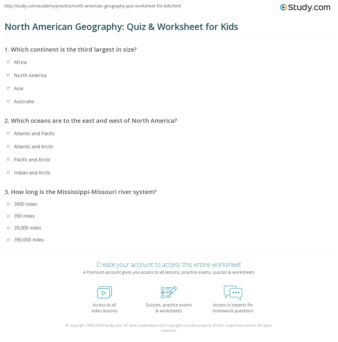 North American Geography Quiz Worksheet For Kids Studycom - Geography quiz