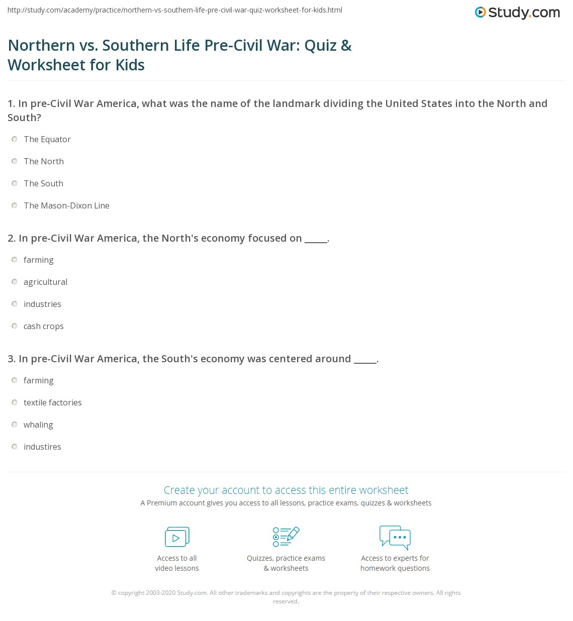Worksheets Civil War Timeline Worksheet northern vs southern life pre civil war quiz worksheet for print in the north south america lesson kids worksheet