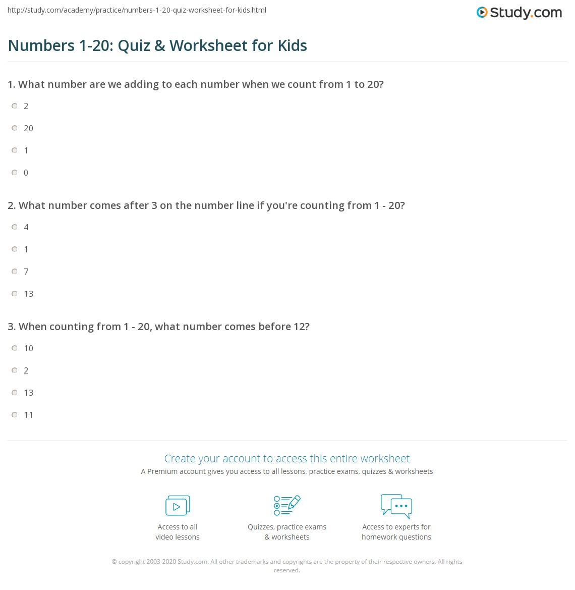 worksheet Worksheet Numbers 1 20 numbers 1 20 quiz worksheet for kids study com print lesson worksheet
